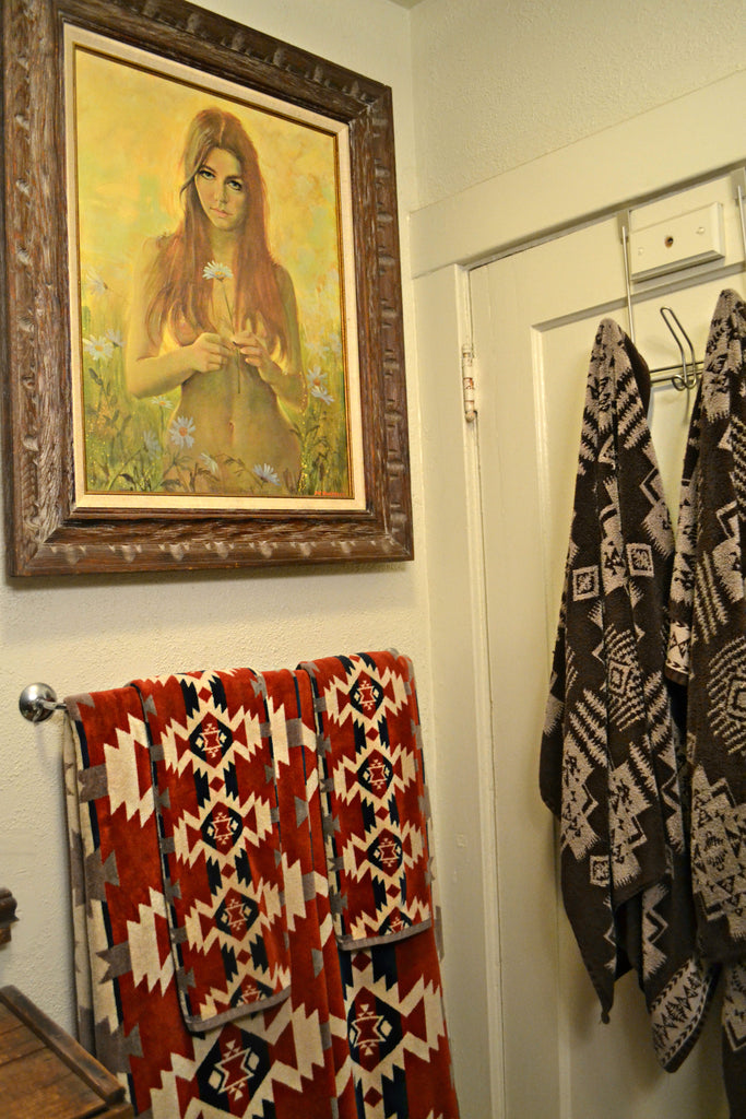 Artifact Home Tour with Cat Farotte. Pendleton fabric towels, small bathroom