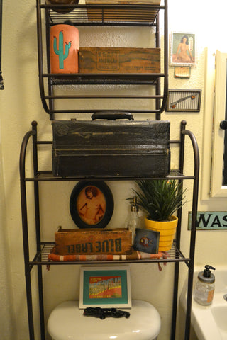 Vintage bathroom shelving