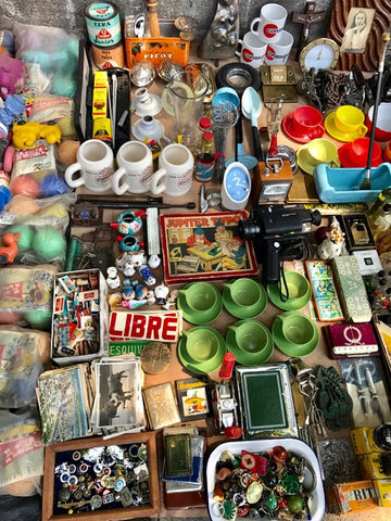 Antiques and vintage wares at a weekend flea market in Mexico City