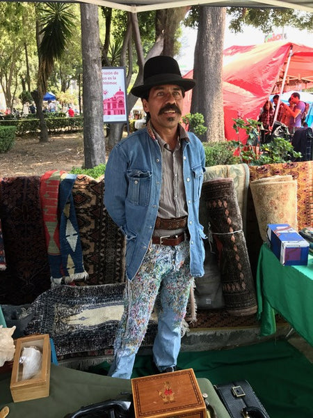Fashionista man at a flea market in Mexico City