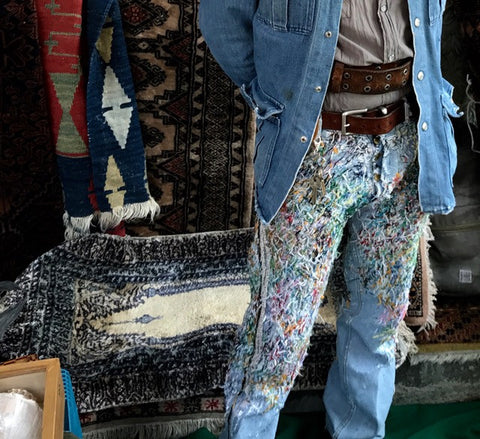 Upclose detail of man's pants at a flea market in Mexico City