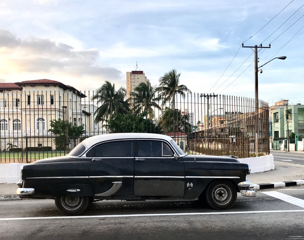 A classic black 1950's car in Cuba