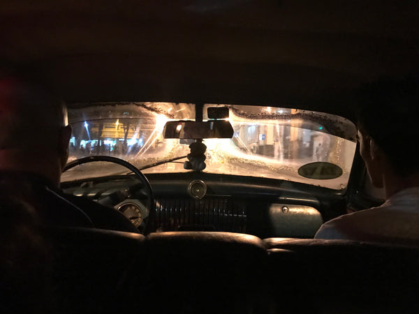At night in a taxi cab in Havana Cuba