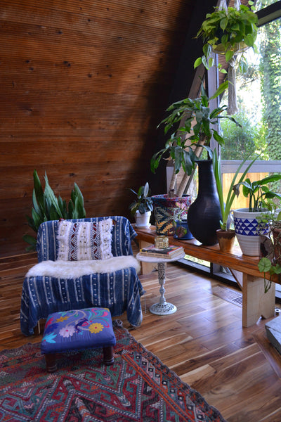 Indigo mudcloth fabric, hanging plants, A Frame home