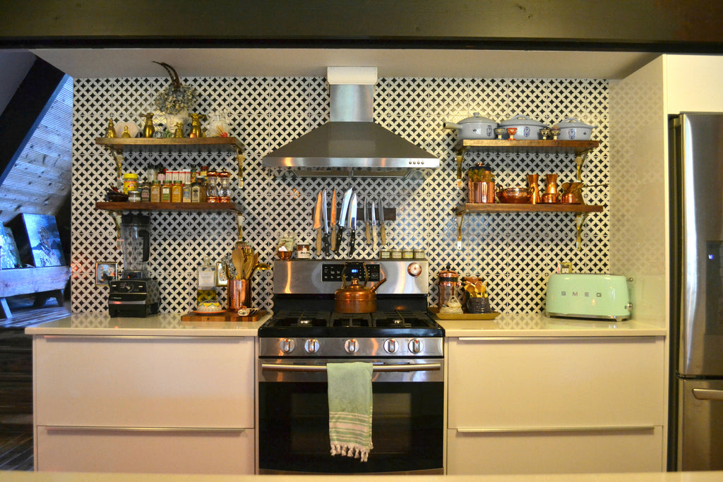Kitchen, stainless steel kitchen, copper, Smeg toaster, tile blacksplash