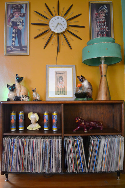 Vintage record collection and mid century art.