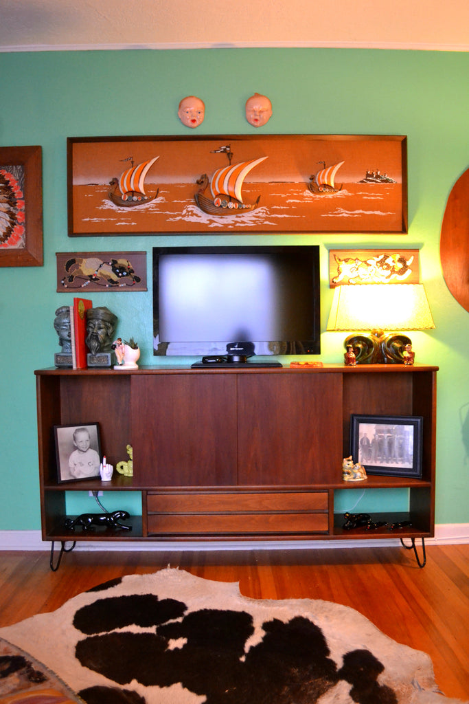 Mid Century art and furniture.