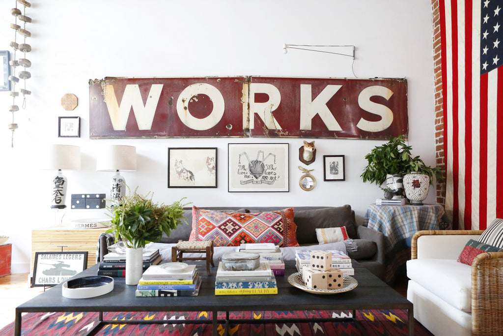Home Tour with Portland Interior Designer, Max Humphrey. American flag, industrial sign