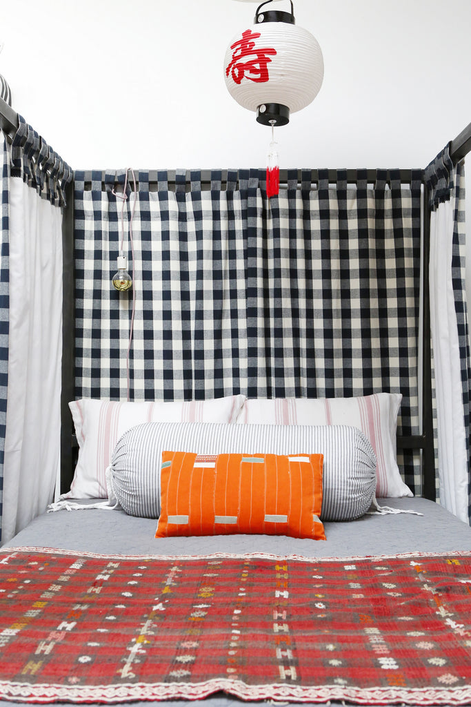 Home Tour with Portland Interior Designer, Max Humphrey. Chinese lantern lamp, textiles, modern bedroom