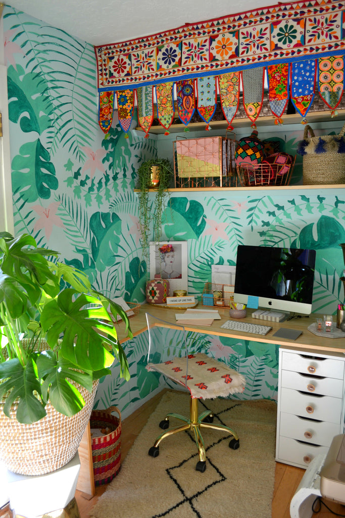 Le Souk Le Souk, office, sun room, handpainted wallpaper, mural, plant wallpaper, handpainted, turkish textiles, office goals