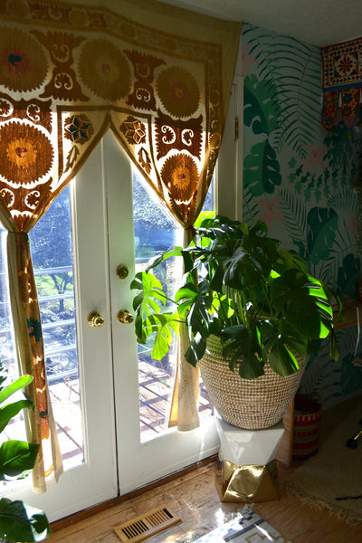 Sun room, office, curtains, vintage curtains, plant goals,