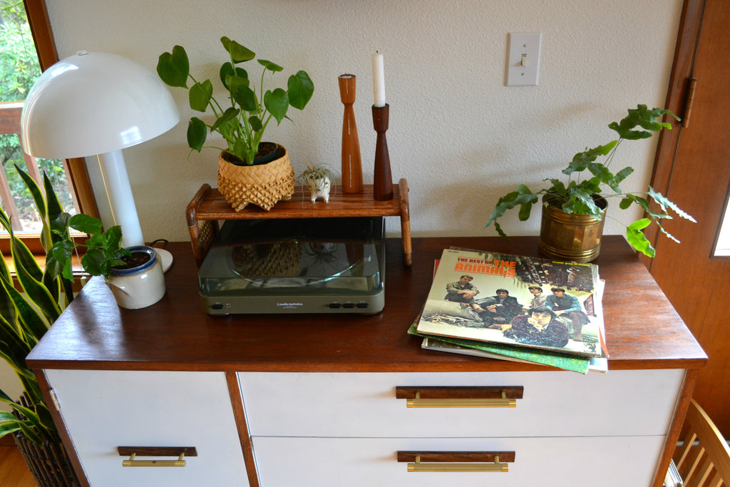 Washington Home Tour with Summer Wick. Midcentury modern furniture, house plants, record player, The Animals