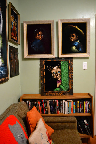 Vintage velvet art and paintings.
