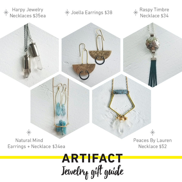 Jewelry Gift Guide from your local vintage shop, Artifact Creative Recycle.