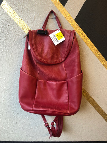 Backpack - Norm Thompson Red Leather Backpack