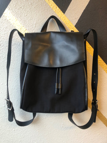 Backpack - Skagen Black Leather & Nylon Drawstring Backpack