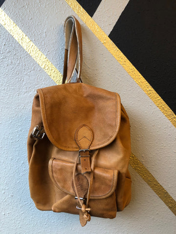 Backpack -  Vintage Light Brown Leather Mini Backpack