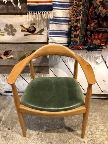 Furniture - Beautiful MCM Style Green Leather Wood Chair