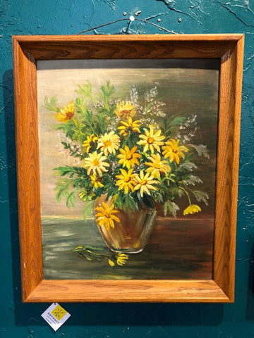 Home Decor - Hand Painted Yellow Flowers Still Life Art