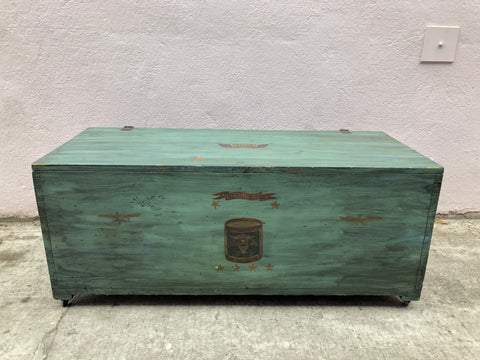 Vintage Green Pine Trunk