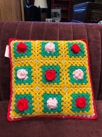 Vintage Crochet Red Rose Pillow