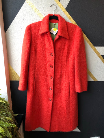 Clothing - Juicy Green Lined Tangerine Red Coat