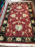 "Rug - 4'9""x7'10"" Kilim Dusty Black Red Floral Rug"