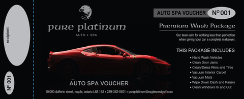 Pure Platinum Auto Spa Voucher - Premium Package