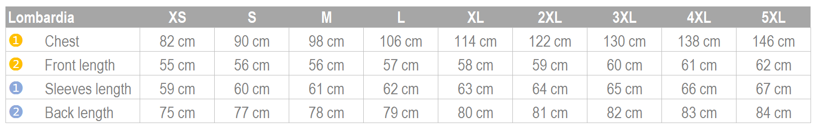 Lombardia Size Guide