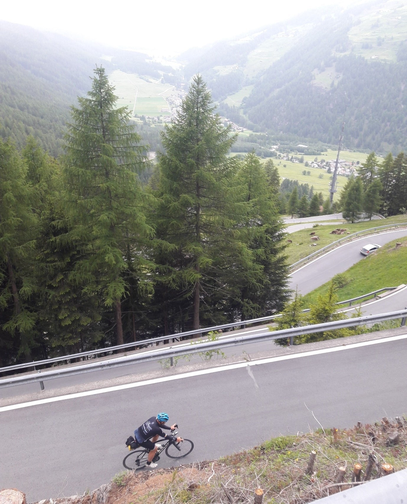 Justin on the tight hairpin section at the foot of the Umbrail pass.