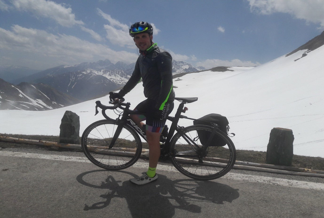 Josby atop the Grossglockner. Note the sunshine, and the bollards.
