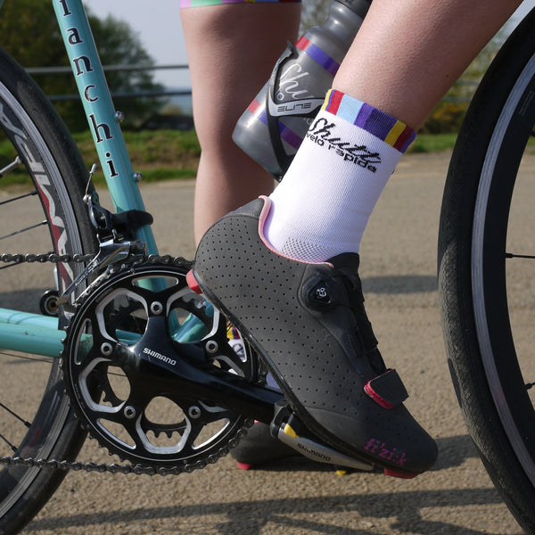 White Cycling Socks 13cm