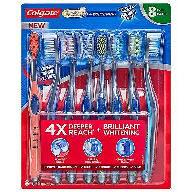 Colgate Total Whitening Toothbrushes, Medium Bristle (8 pack)