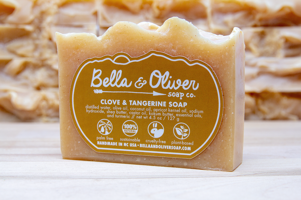 Clove and Tangerine Soap - Bella & Oliver Soap Co. Asheville Soap Company - best handmade soap - palm free all natural soap - shea butter soap sustainable soap plant-based • Made in North Carolina - Asheville Swannanoa Black Mountain