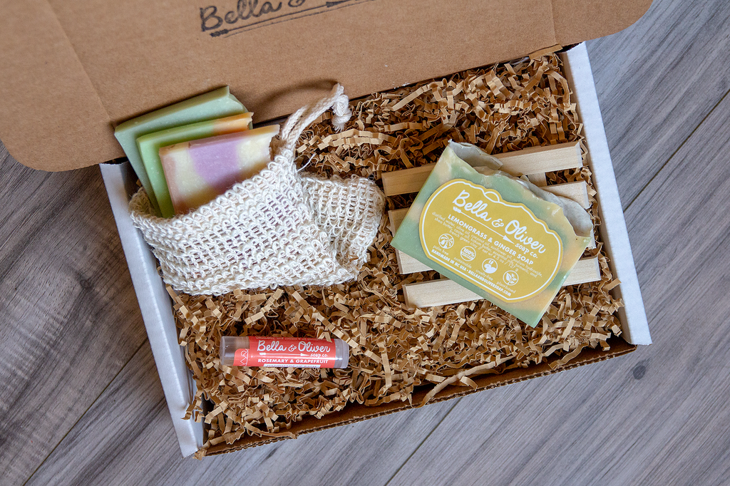 Best Gift Box Ideas - Bridesmaid Gift - Birthday gift box - Custom Soap Box - Customizable Gift Box - Handmade Soap Lip Balm Wooden Soap Dish - Bella & Oliver Soap Co. - Swannanoa Mountains NC