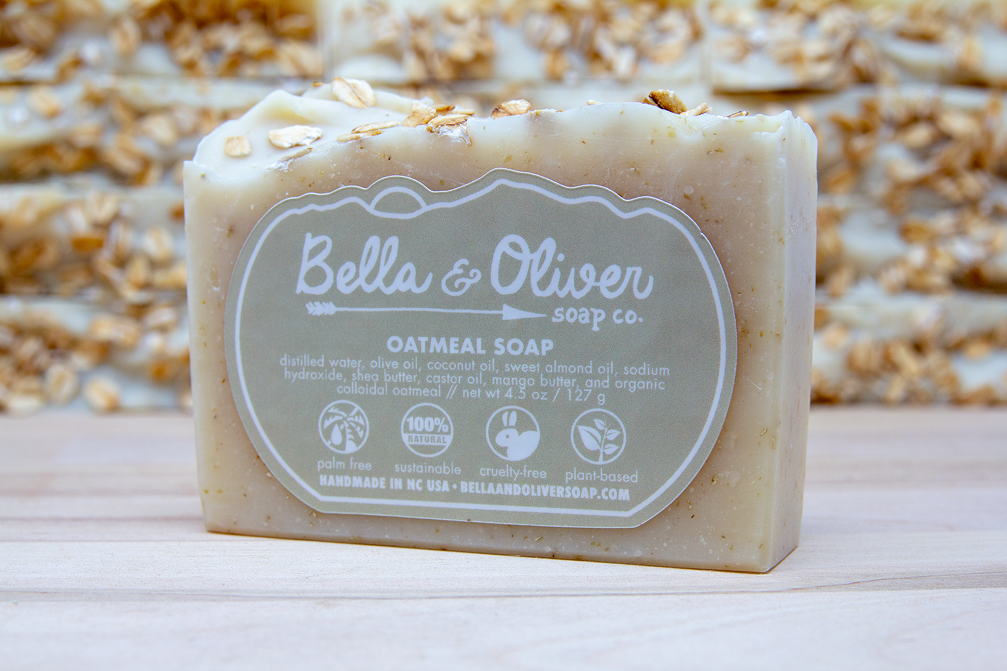 Natural Colloidal Oatmeal Soap - Small Batch Soap by Bella & Oliver Soap Co - Cruelty-free Skincare - Unscented Soap - Asheville Soap Company