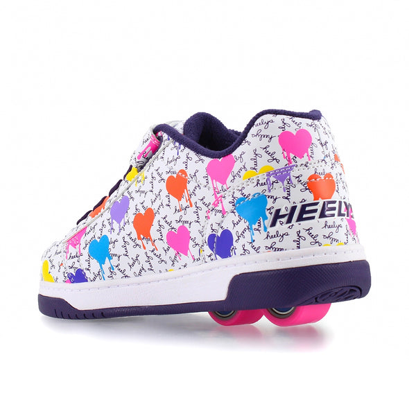 Heelys Dual Up X2 White Multi Heart Drip
