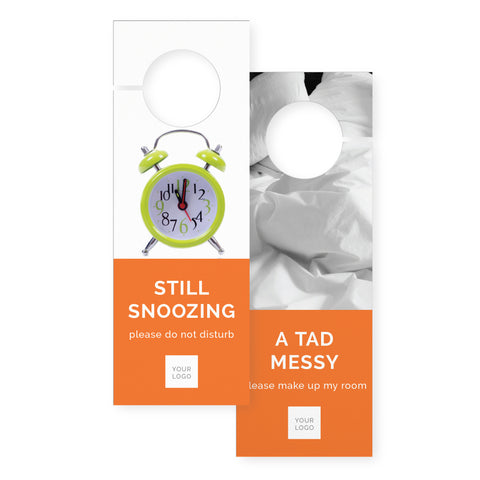 Door hangers – 2 sided - Colour Block – Orange