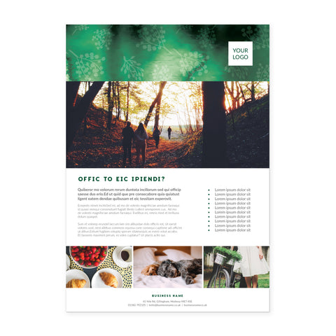 A4 Flyer / Factsheet - 1 sided - Forest Retreat – Green