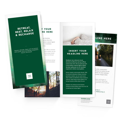 DL Flyer - 4 page – portrait - Forest Retreat – Green