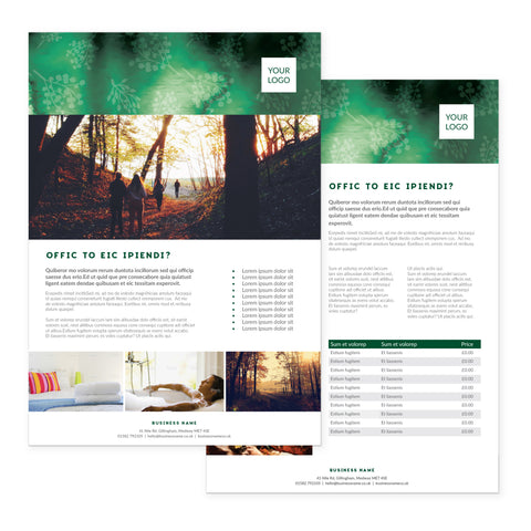 A4 Flyer / Factsheet - 2 sided - Forest Retreat – Green