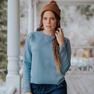 Dusk Blue Neo Crop Top Pullover