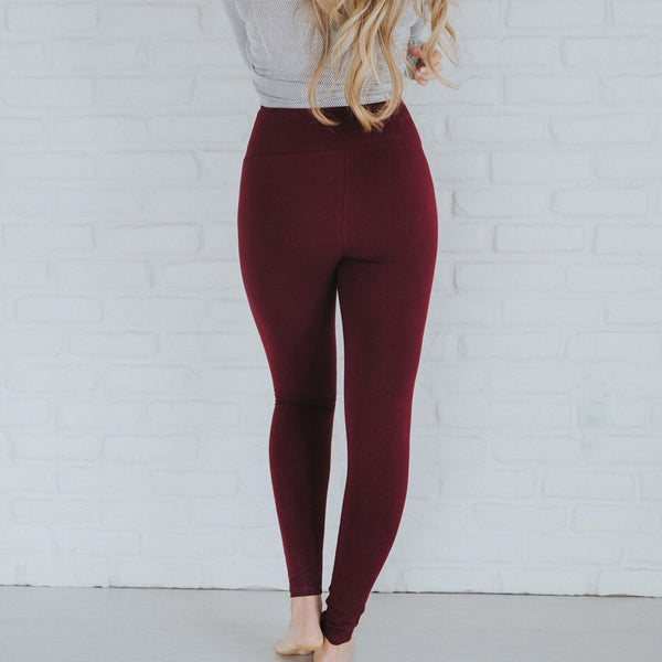 High-Waisted Wine Leggings - Albion - 3