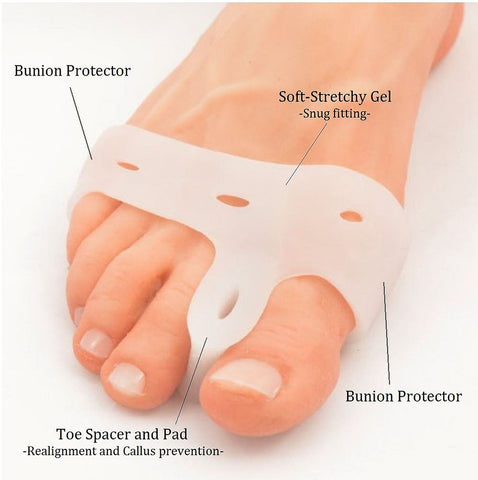 Silicone Toe Spreader and Bunion Band. Crooked Toes Alignment and Big Toe Joint Pain Relief. C27-(2 Pcs.)
