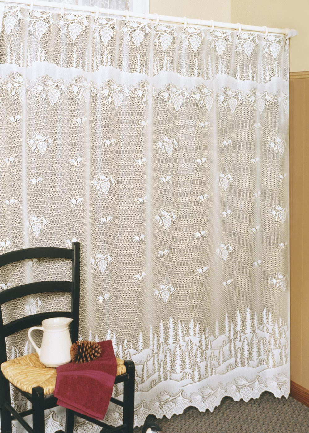 Pinecone Lace Shower Curtain by Heritage Lace