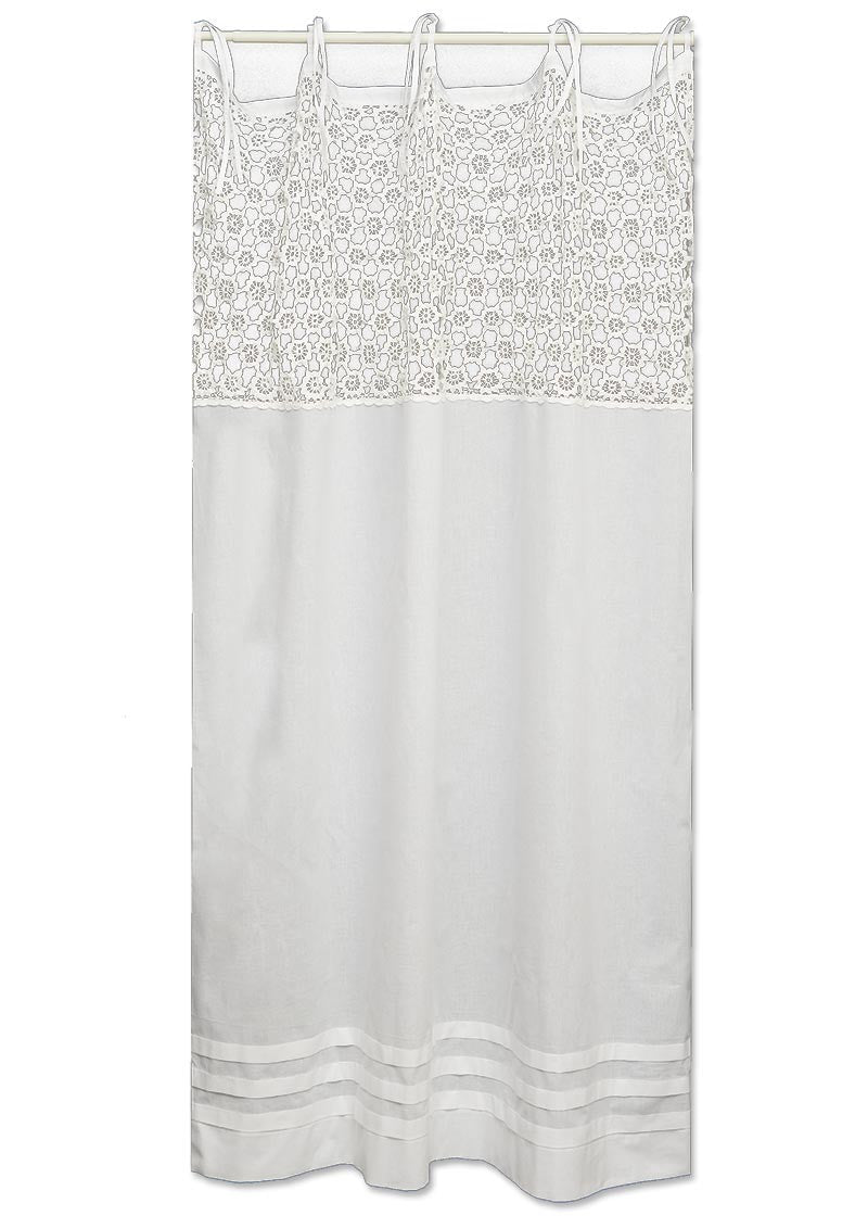 Crochet shower curtains -  Crochet Envy Pearl Panels 63 In White Or Natural By Heritage Lace