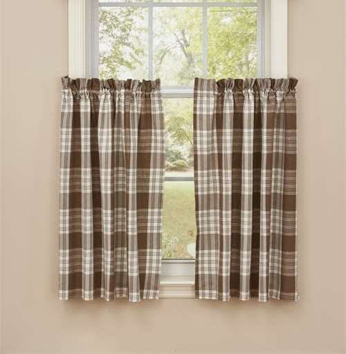 "Dylan Taupe 36"" Tier Curtain"
