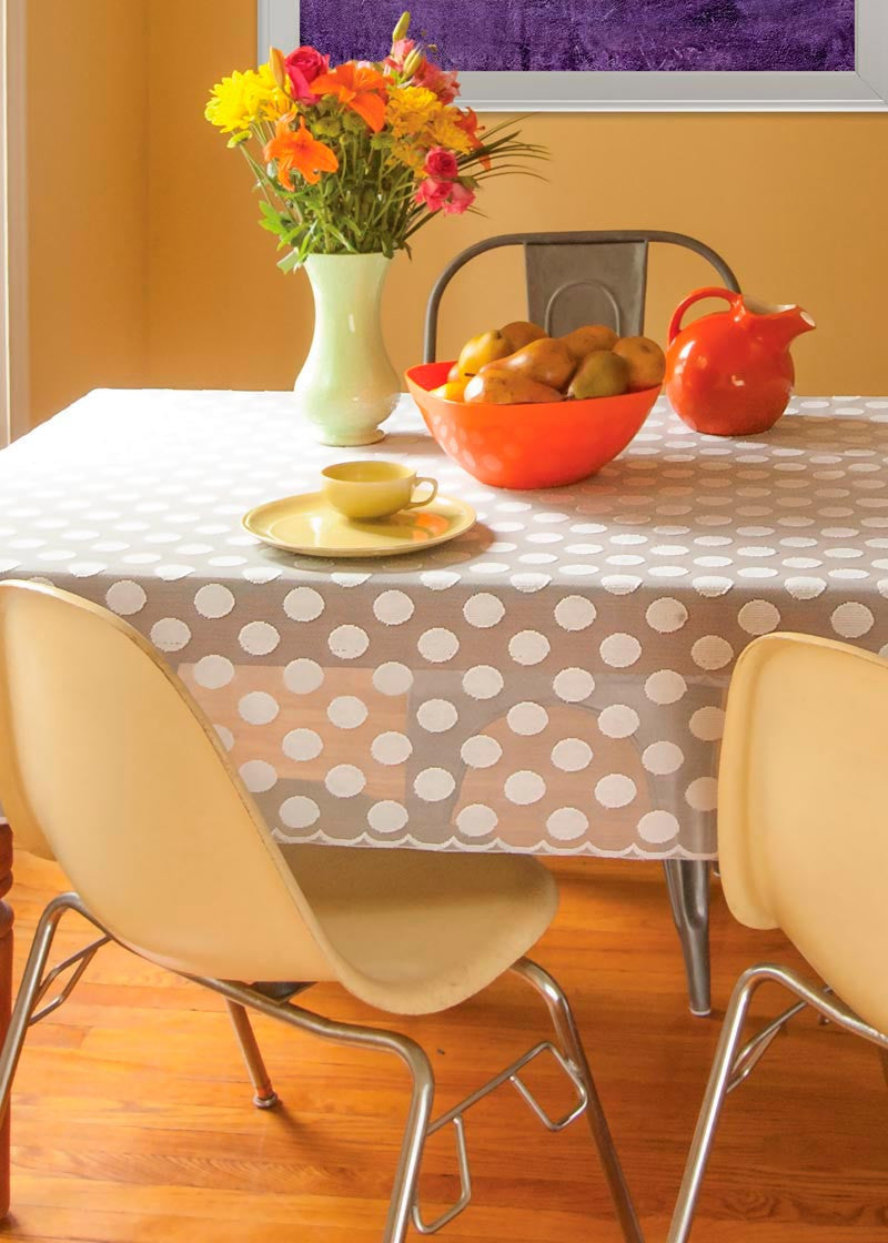 "Polka Dot Tablecloth 58""x 84"" Rectangle Heritage Lace"