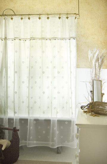Sand Shell Shower Curtain Set includes valance over curtain