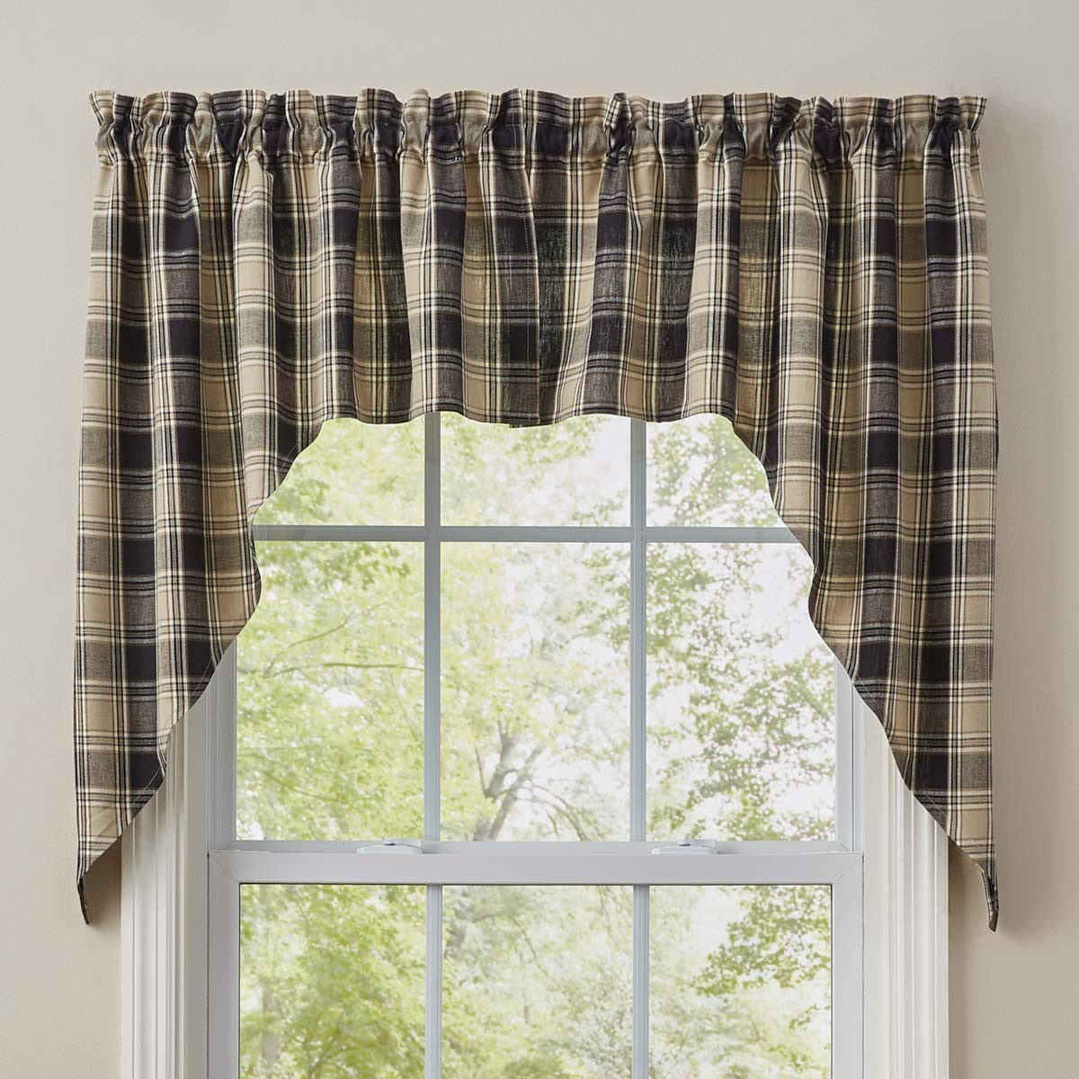 Soapstone Plaid Swag Curtain